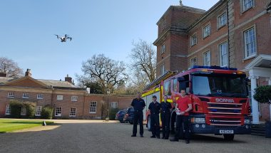 Fire engine and Drone